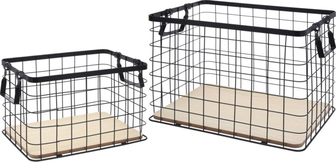 HZ1008010. Metal Wire basket Square Set/2. L:40x30x28.5cm S:33x23x21cm  . (units/inner:2units/outer: