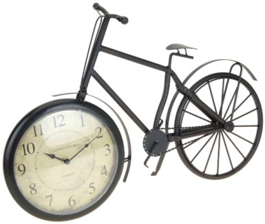 C37568140 Bicycle Table Clock, Antique Finish, 19.5X4X12.9 Inches
