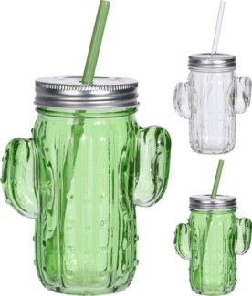 CD1000270-Cactus Jar Drinking Cup, 2/Asst, 4x3x5.5 inches