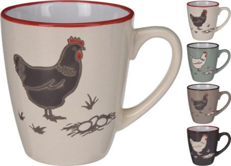 DN1800000-Farmhouse Mug, Short, 4Asst -  4.1x3.1x3.3   Stoneware (Dark Brown/Turqouise/Light Brown /