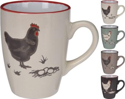 DN1800010-Farmhouse Mug, M, 4Asst - 4.5x3.2x4.1   Stoneware (Dark Brown /Turquoise/Cream Mug/Taupe)