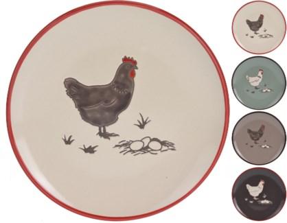 DN1800040-Farmhouse Side Plate 4 Asst. -  8x8    (Darkbrown/Turquoise/Cream/Taupe)