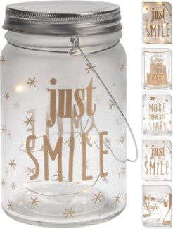 AX5300560. Glass Jar wLights 4Asstd Gold Text 3.3Dx5.5   (units/inner:12. units/outer24) - ON SALE