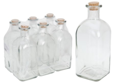 696000040-Bottles 1 Ltr w/cork lid, Glass 3.5x3.5x9 in