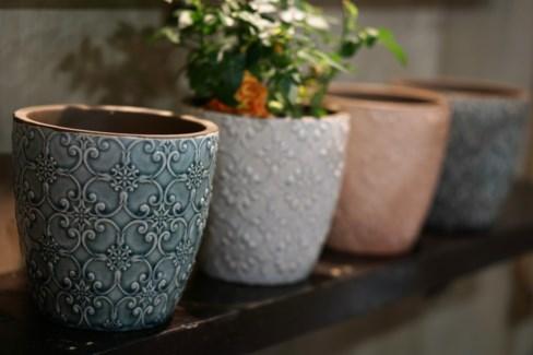 098000700-Flower Pot, Ceramic, 4 Asst -  5x5  ,  Embossed Design, 4 Assorted Colors, Glazed, 3 Prote
