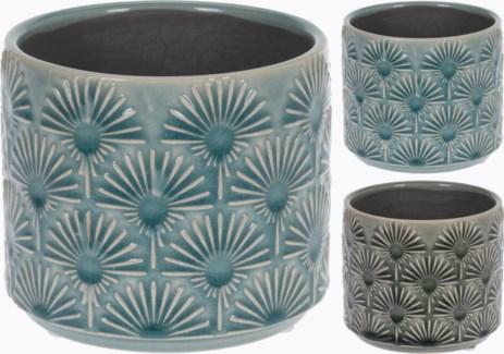 084000140-Glazed Embossed Terracotta Flower Pot 2 Asst, S, Green, 4.75x4 inches LAST CHANCE!