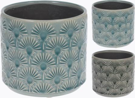 084000150-Glazed Embossed Terracotta Flower Pot 2 Asst, M, Green, 5.5x5 inches LAST CHANCE!