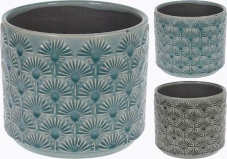 084000160-Glazed Embossed Terracotta Flower Pot 2 Asst, L, Green, 6.5x6 inches LAST CHANCE!