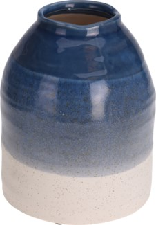 095702400-BlueWhite Vase, M, Glazed Ceramic & Sand Finish  8x8x10 in