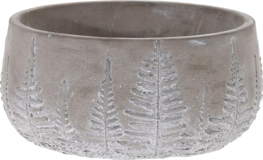 095703620-Lottie Flower Pot Bowl Grey w/ White Washed Leaf Design, M, Cement, 8x8x3.7 in