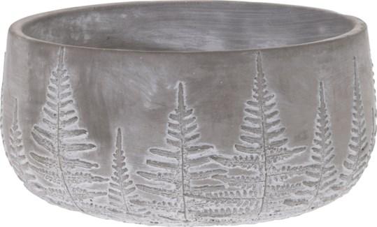 095703630-Lottie Flower Pot Bowl Grey w/ White Washed Leaf Design, L Cement, 9x9x4.5 in