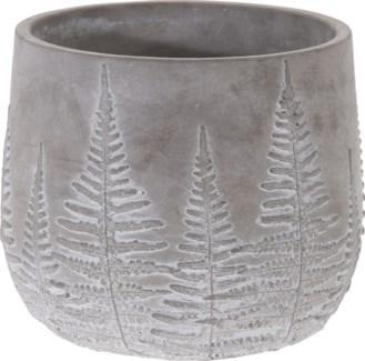 095703650-Chloe Flower Pot Bowl Grey w/ White Washed Leaf Design, L, Cement, 7x7x6 in