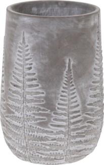 095703660- Emmy Vase Bowl Grey w/ White Washed Leaf Design, M, Cement, 5x5x8 in