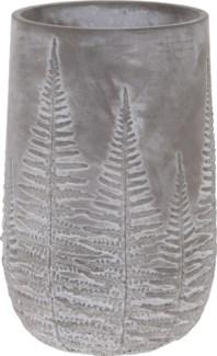 095703670-Emmy Vase Bowl Grey w/ White Washed Leaf Design, L, Cement, 6x6x10 in