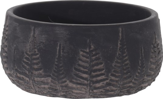 095703720-Lottie Flower Pot Bowl Black w/ Black Washed Leaf Design, M, Cement, 8x8x3.7 in