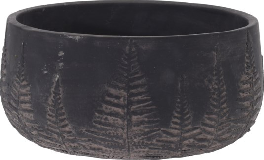 095703730-Lottie Flower Pot Bowl Black w/ Black Washed Leaf Design, L Cement, 9x9x4.5 in