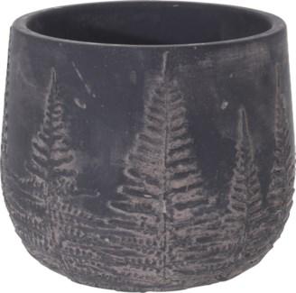 095703740-Chloe Flower Pot Bowl Black w/ Black Washed Leaf Design, M, Cement, 6.5x6.5x5.5 in