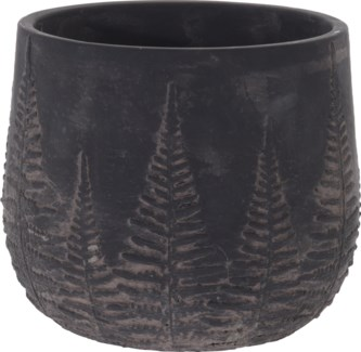 095703750-Chloe Flower Pot Bowl Black w/ Black Washed Leaf Design, L, Cement, 7x7x6 in