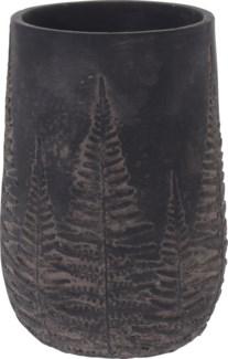 095703760-Emmy Vase Bowl Black w/ Black Washed Leaf Design, M, Cement, 5x5x8 in