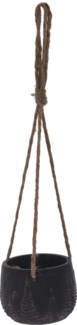 095703700-Rex Hanging Flower Pot, S, Black w/ Leaf Design, Cement, Jute Rope 4.7x4.7x3.5 in