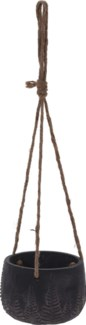 095703710-Rex Hanging Flower Pot, M, Black w/ Leaf Design, Cement, Jute Rope 5.5x5.5 in