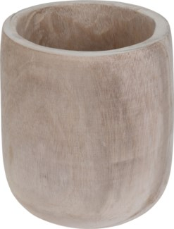 CAZ102000-Lyle Natural Wooden Pot, Paulownia Wood 8x8.5 in