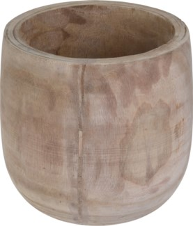 CAZ102010-Lyle Natural Wooden Pot, Paulownia Wood, 10.5x10.5 in