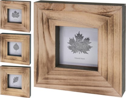 ASH300770. Maple Photo Frame 3Asstd Wooden 8.1x1.5x8.1inch. (units/inner:12. units/outer12) FD11/30