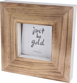 ASH302610. White/Wood Photo Frame 8.1x1.6x8.1inch. (units/inner:12. units/outer12) LAST CHANCE!