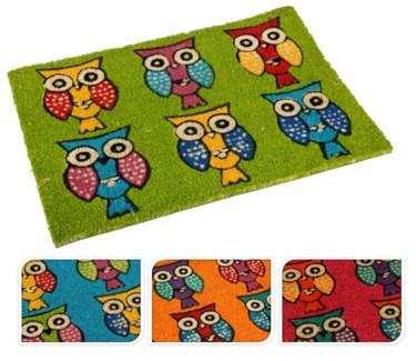 A35400210-Owl Cocos Doormat, 4/Asst, 15.7x24x.4 inches