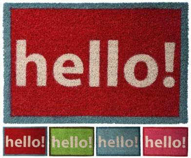 A35400560-HELLO! Cocos Doormat, 4/Asst, 15.7x24x.7 inches