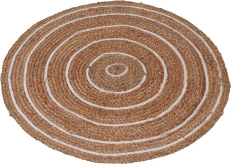 A35920310-Circular Rug, Braided Jute w/white, 35.5D in