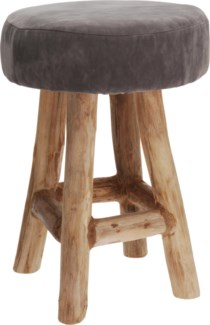 J09150690. Grey Teak Stool w Suede 11.8x11.8x16.5inch. (units/inner:2. units/outer2)FD11/30 - ON SAL