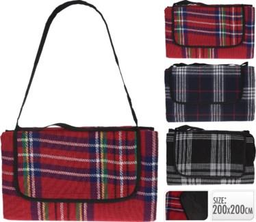 C46615100-Tartan Picnic Blankets, 3/Asst, 15.5x3x10 inches