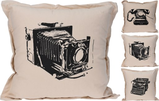 HZ1800570 - Nostalgic Tech Print Cushion, 3/Asst, Off White, 18x18   35% cotton 65% Polyester w/zip