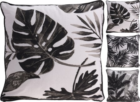 A35830500-Matira Leaf Cushion, Black, 3/Asst, Cotton, 18 in