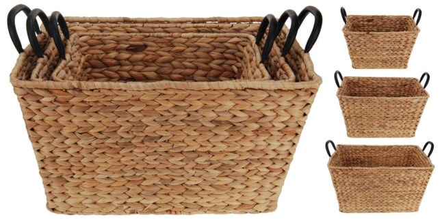 449000070. Basket Set/3 Willow Rattan Metal Handles S:14.25x11.25x8.25  M: 16.50x13.50x9  L: 19x16x1