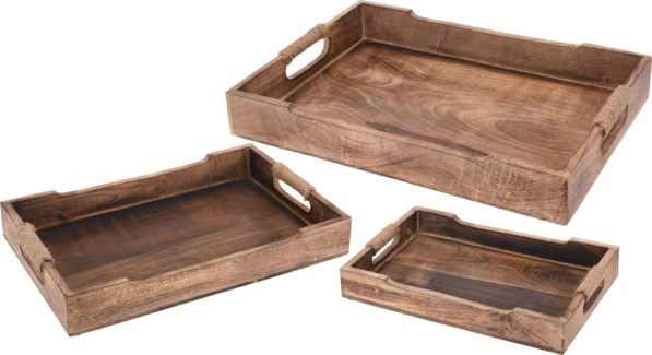 A44710620 - Tray, Mango Wood Set/3  FD LAST CHANCE!