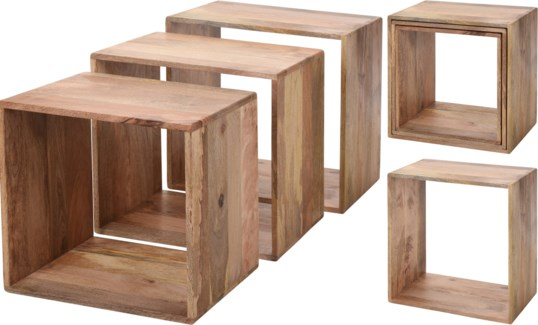 A98800560-Natural Sidetable/Stool, Set/3, Mangowood, S: 15x12x15 in, M: 17.5x12x18 in, L: 20x12x20