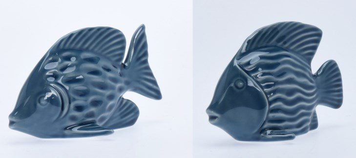 ALX116050-Decorative Fish, 2/Asst, M, Blue, Dolomite, A: 5.5x2.5x3.7 & B: 6x3x3.5 in