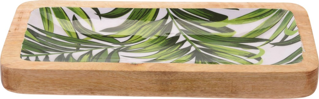 A44320460-Isla Leaf Rectangle Tray, M, Mango w/Enamel Print