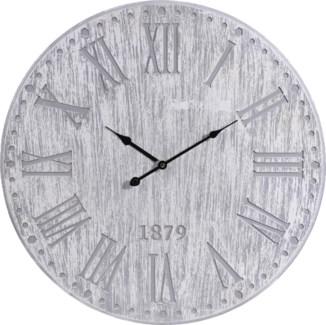 Y36200260 Roman Numeral Clock Wood, Grey