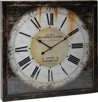 Y36400370 Antique Old Town Roman Numeral Clock, 19.7x19.7x2.4