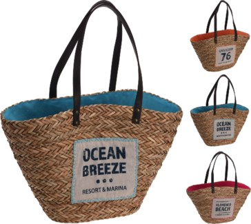 369000170-Beachbag, 3/Asst, Straw & polyester, 24x10x12 in