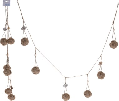 DH9109150-Oceana Garland w/shells, 2/Asst, Jute/cotton, 6x2x59 in