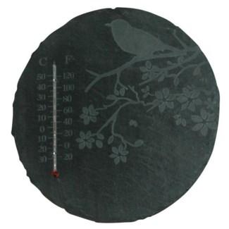 Slate thermometer round bird. Slate, glass, kerosine. 22,0x0,8x22,0cm. oq/6,mc/12 Pg.96
