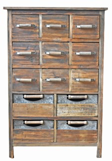 13 Multi Drawer Rustic Wood Cabinet 26x12x39 inches *Made from very old recycled wood for best rusti