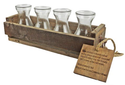 Rustic Wood Crate w/4 Glass Vases 18x6x4 inches *Made from very old recycled wood for best rustic ef