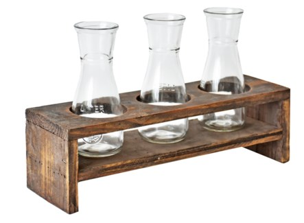Rustic Wood Stand w/3 Glass Vases 15x5x5 inches *Made from very old recycled wood for best rustic ef