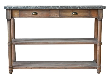 Rustic Wood & Zinc Console Table 51x16x36 inches *Made from very old recycled wood for best rustic e